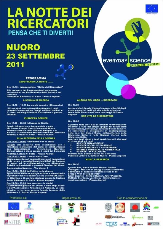 Programma - La notte dei ricercatori 23-09-2011