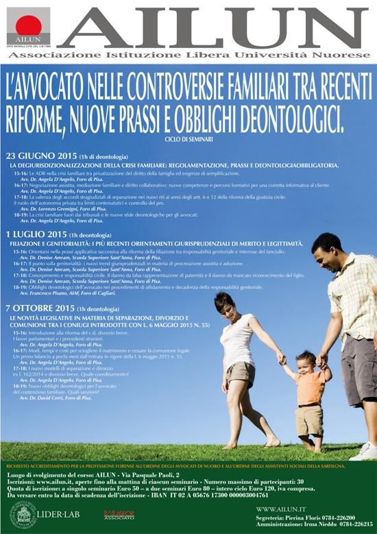 Seminari Su Controversie Familiari – Giu-lug-ott 2015